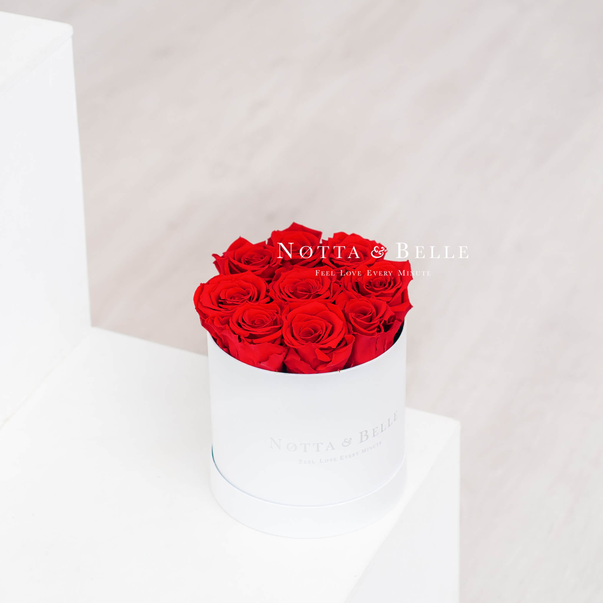 Forever Red roses in a white box - «Princess» - 9 roses