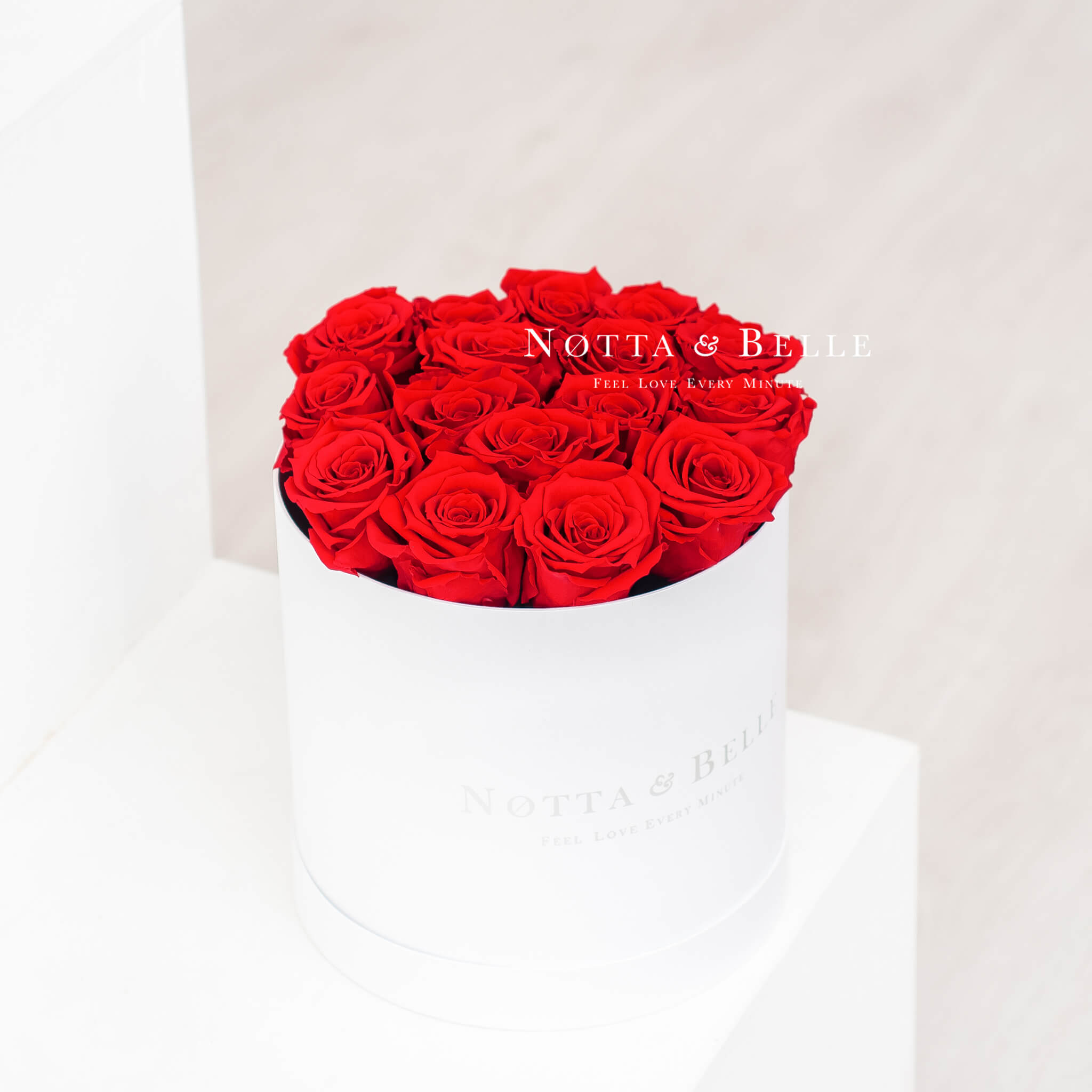 Forever Red roses in a white box - «Princess» - 15 roses