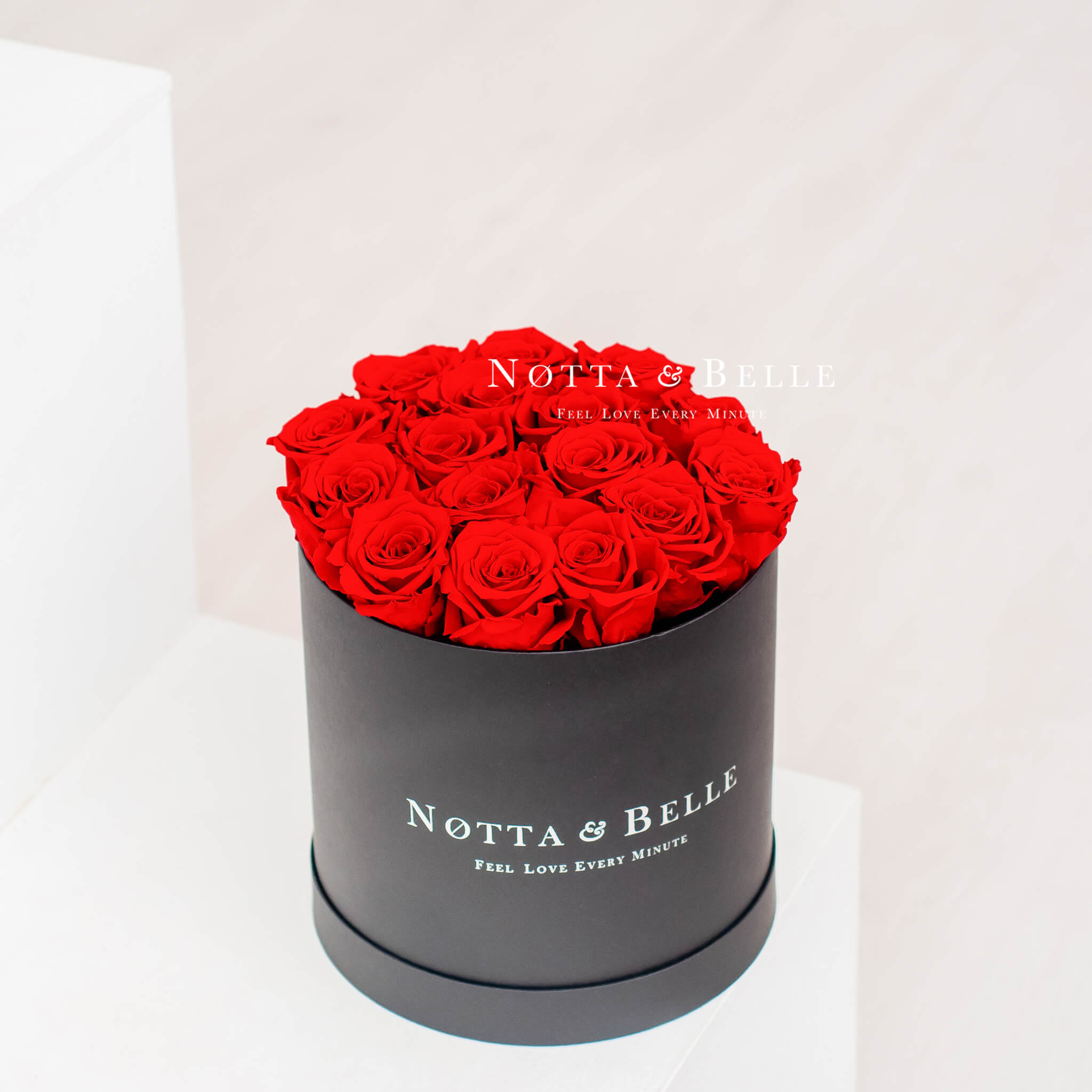 Forever Red roses in round black box - 15 roses