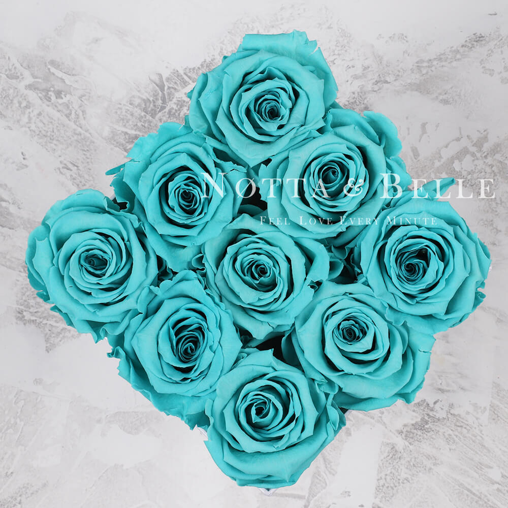 Forever Turquoise roses in square black box - 9 roses