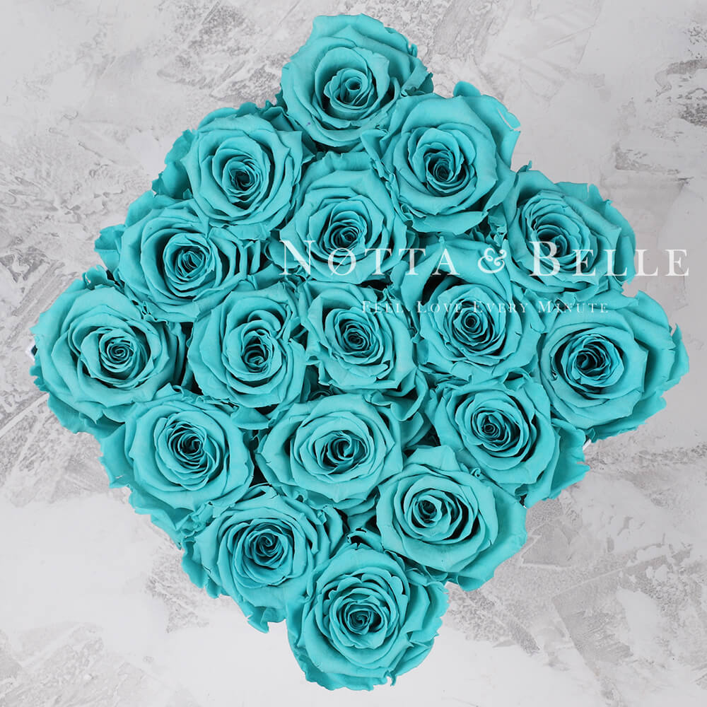 Forever Turquoise roses in trapezoid black box - 17 roses