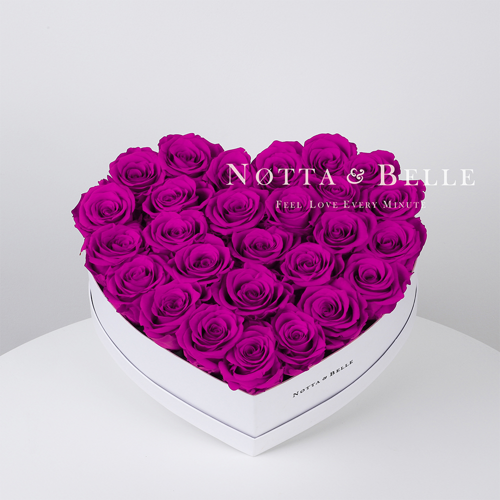 Fuchsia roses in a white box - «Love» - 27 roses