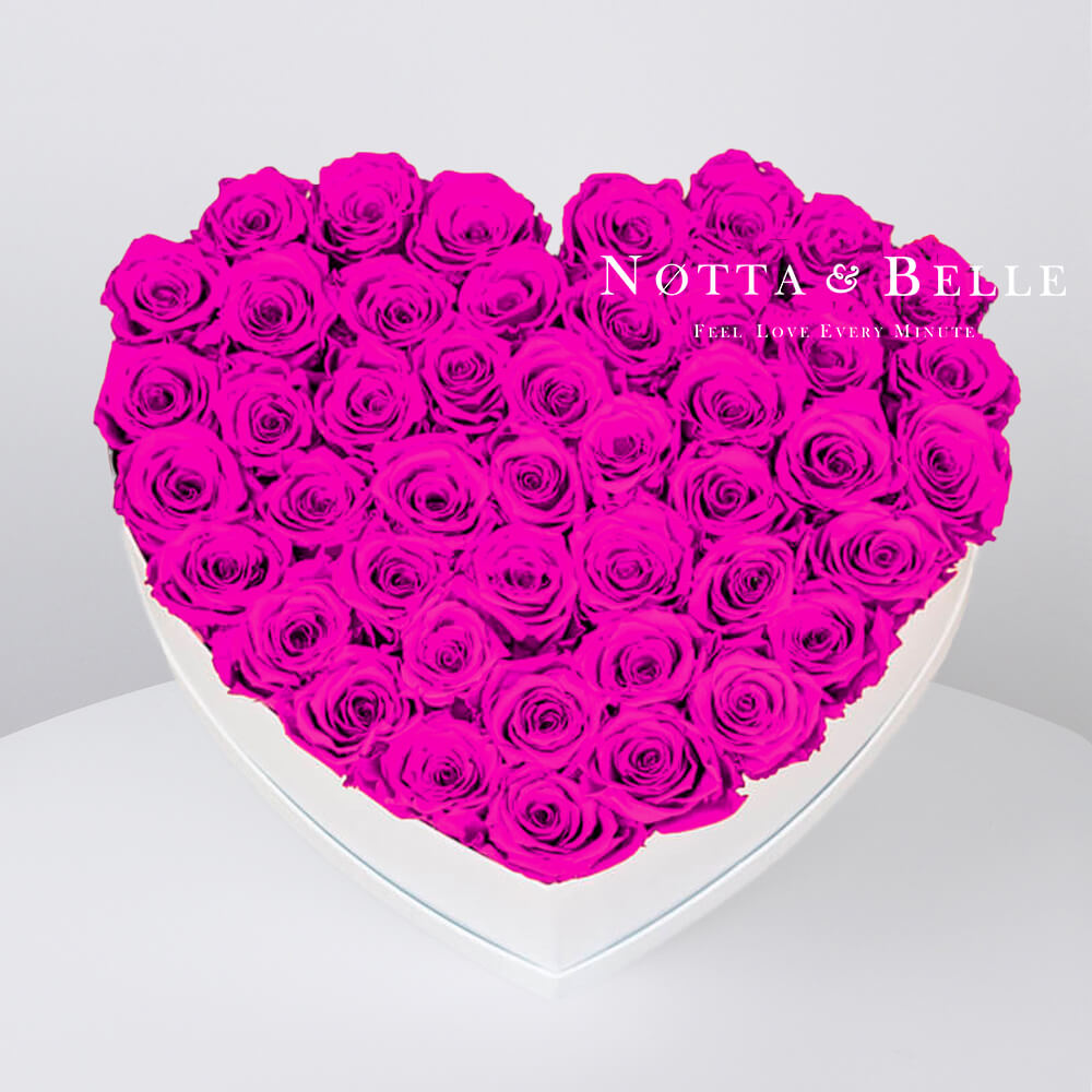 Fuchsia roses in a white box - «Love» - 35 roses
