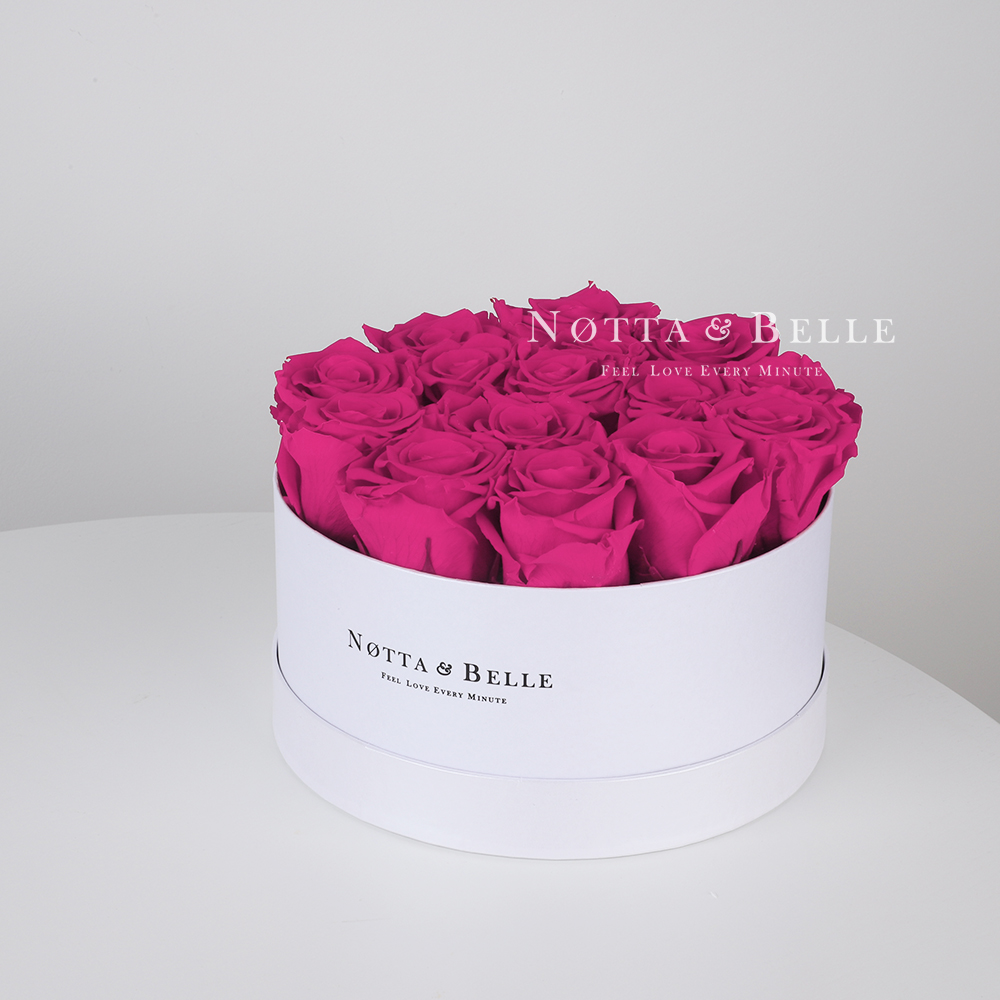 Fuchsia roses in a white box - «Princess» - 15 roses