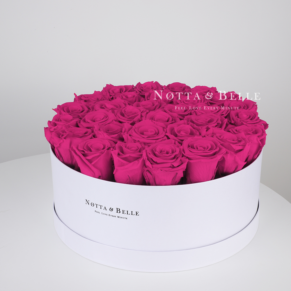 Fuchsia roses in a white box - «Princess» - 29 roses