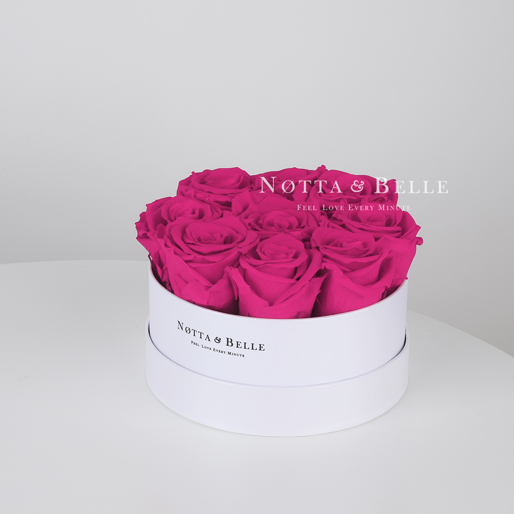 Fuchsia roses in a white box - «Princess» - 9 roses