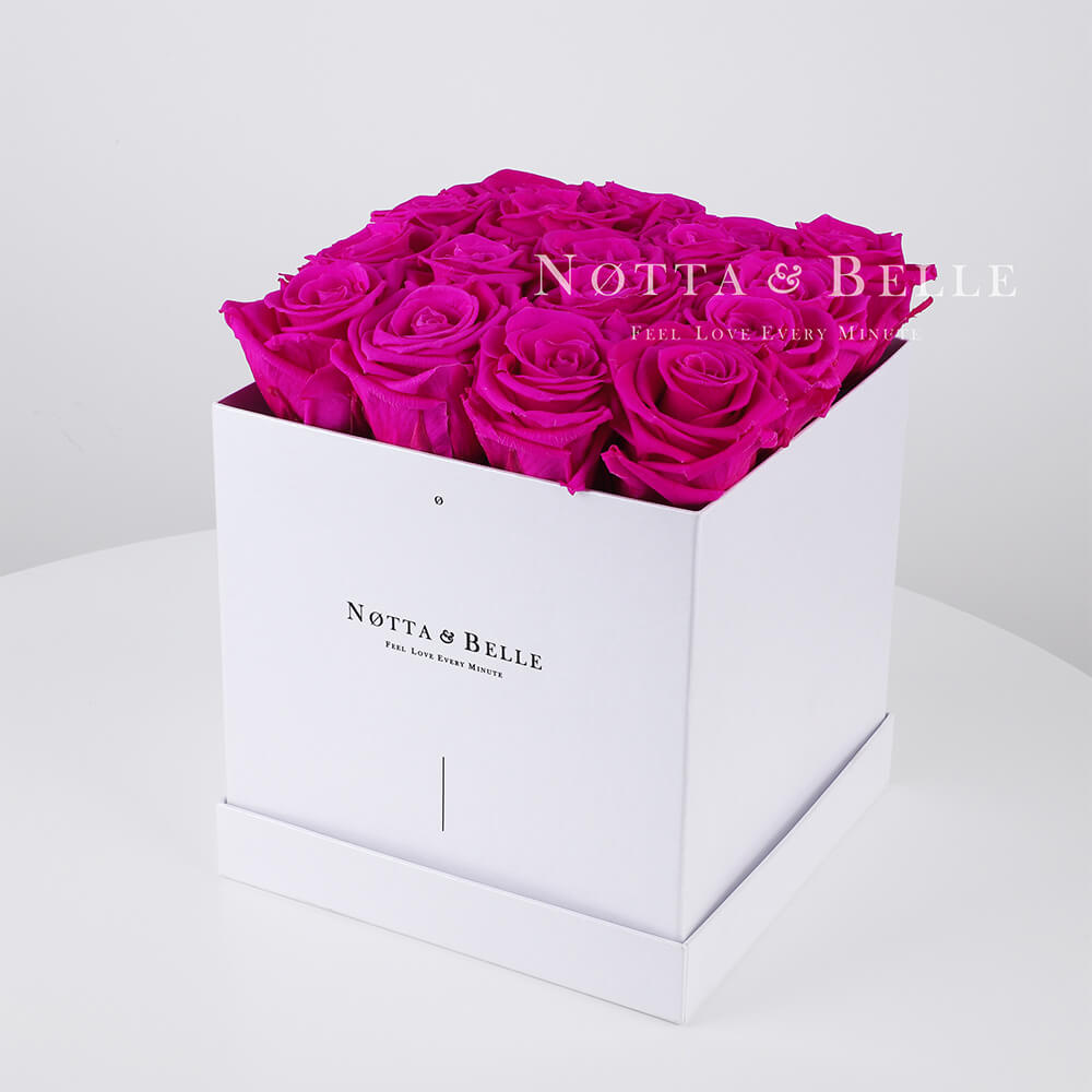 Fuchsia roses in a white box - «Romantic» - 17 roses
