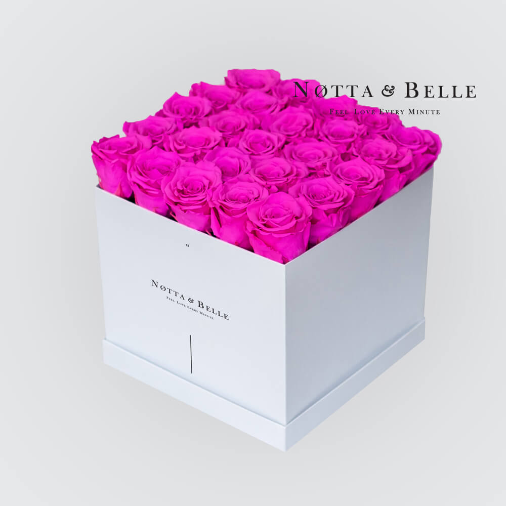 Fuchsia roses in a white box - «Romantic» - 25 roses