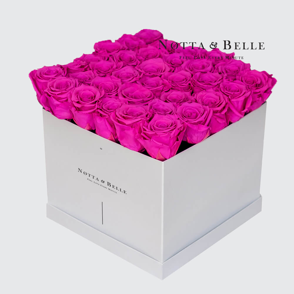 Fuchsia roses in a white box - «Romantic» - 35 roses