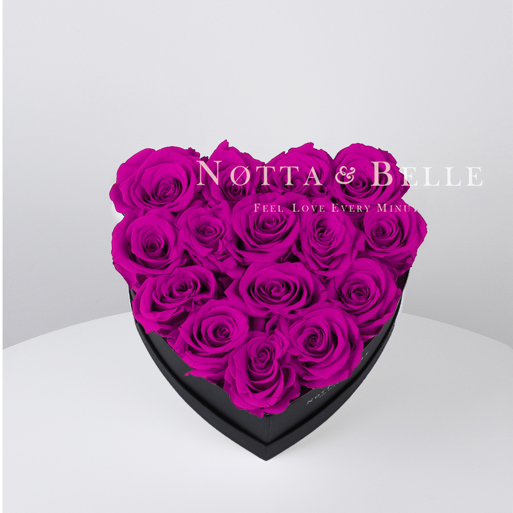 Fuchsia roses in heart black box - 15 roses