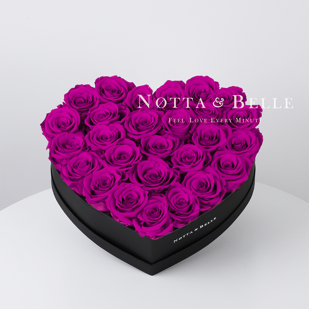 Fuchsia roses in heart black box - 27 roses