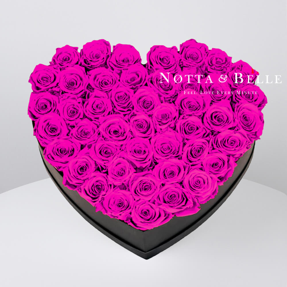 Fuchsia roses in heart black box - 35 roses