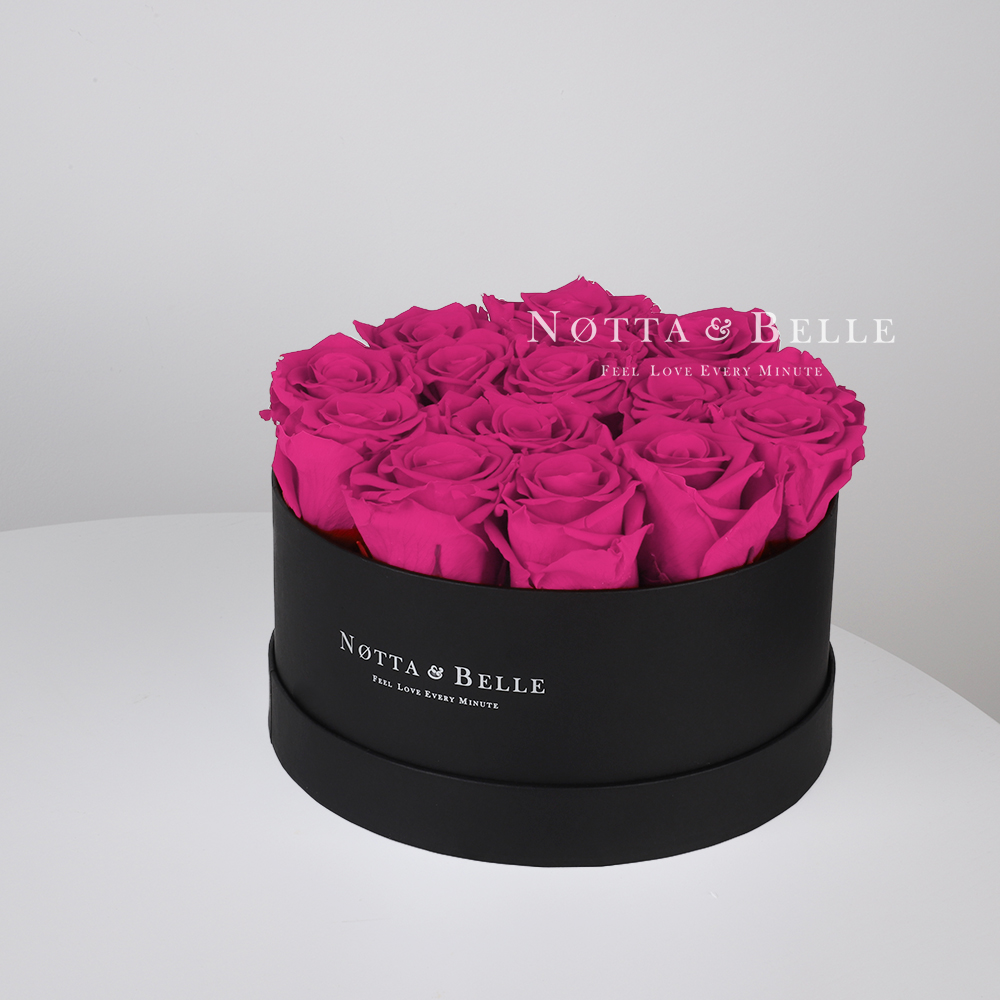 Fuchsia roses in round black box - 15 roses