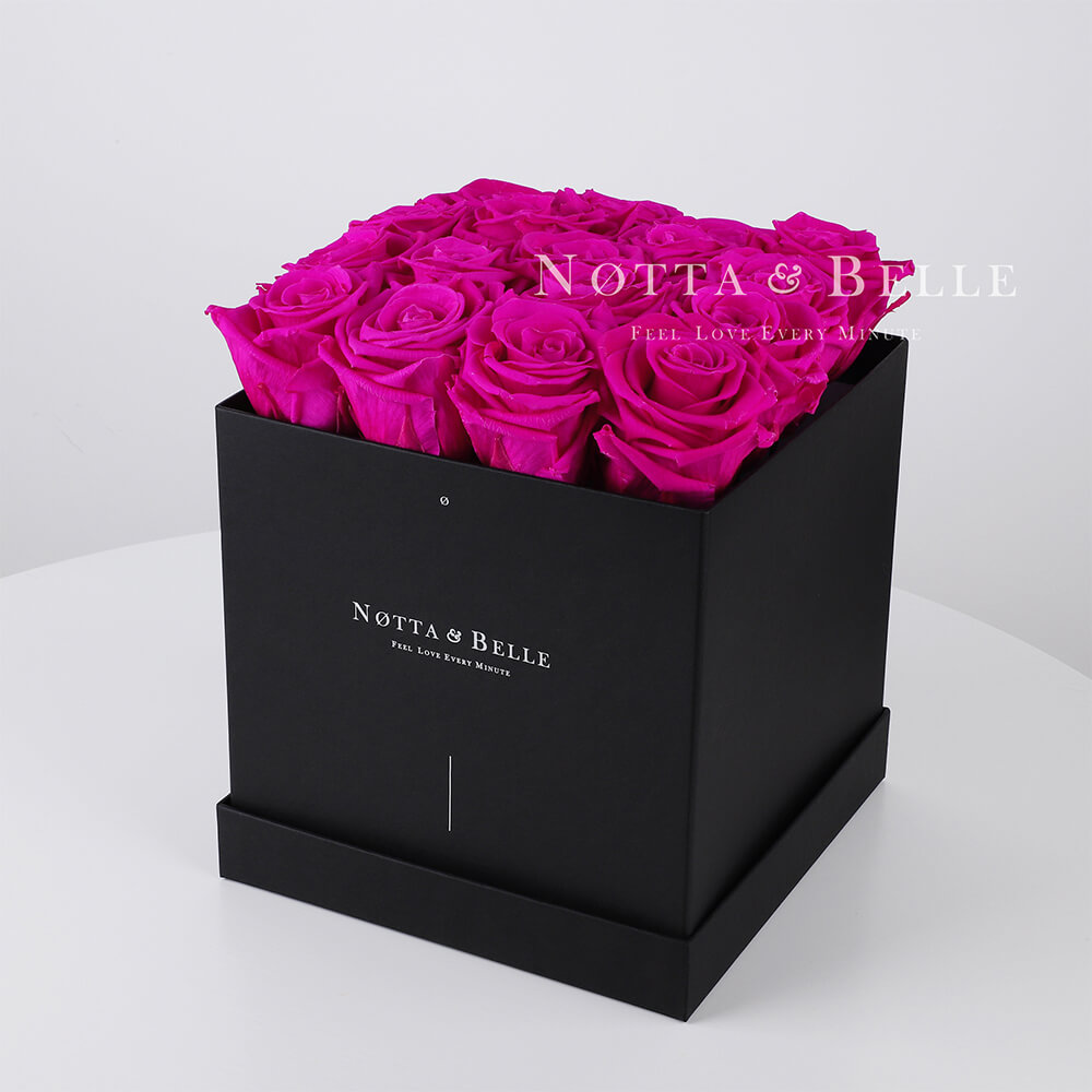Fuchsia roses in square black box - 17 roses