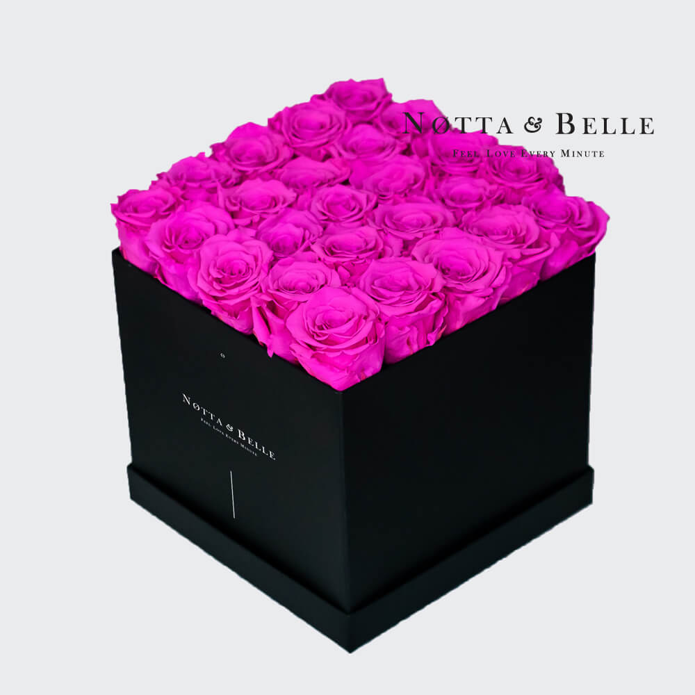 Fuchsia roses in square black box - 25 roses