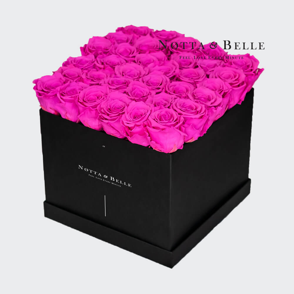 Fuchsia roses in square black box - 35 roses