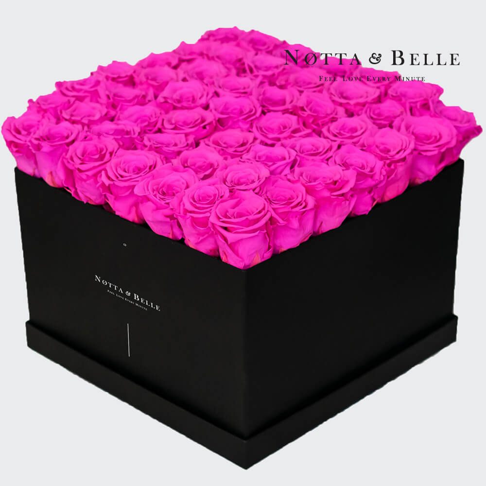 Fuchsia roses in square black box - 49 roses