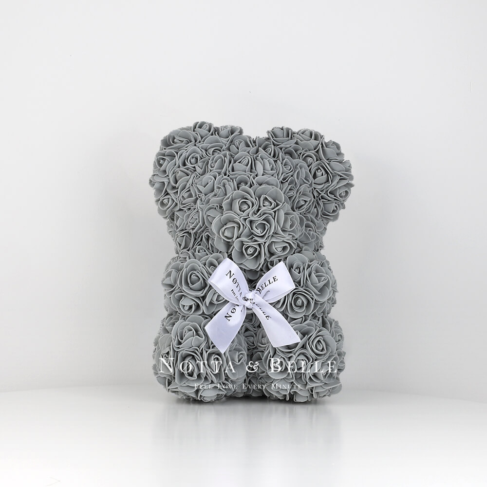 Grey Rose Bear - 10 in.