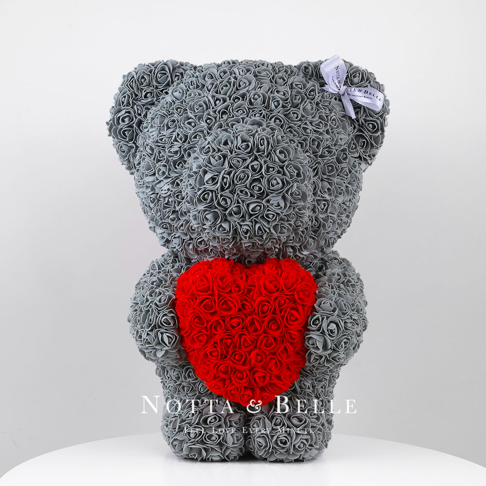 Grey Rose Bear with a heart - 22 in.