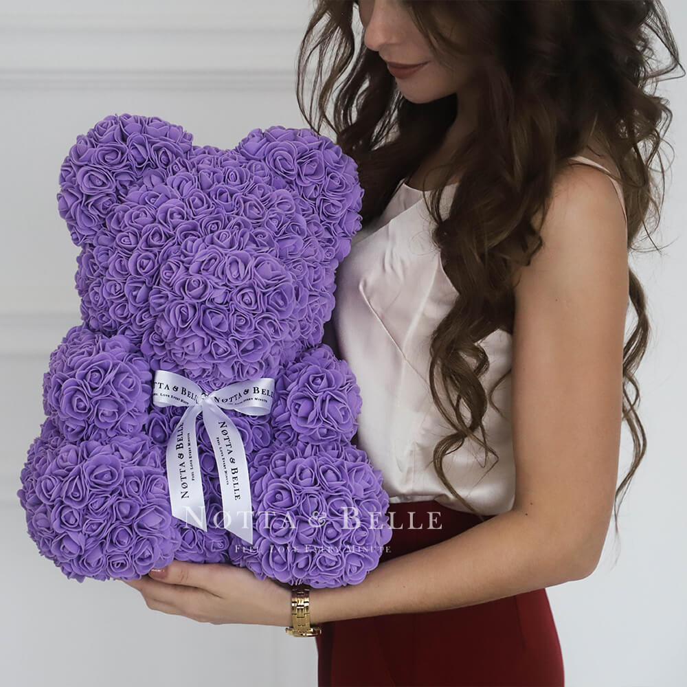 Orsetto di rose viole 35cm
