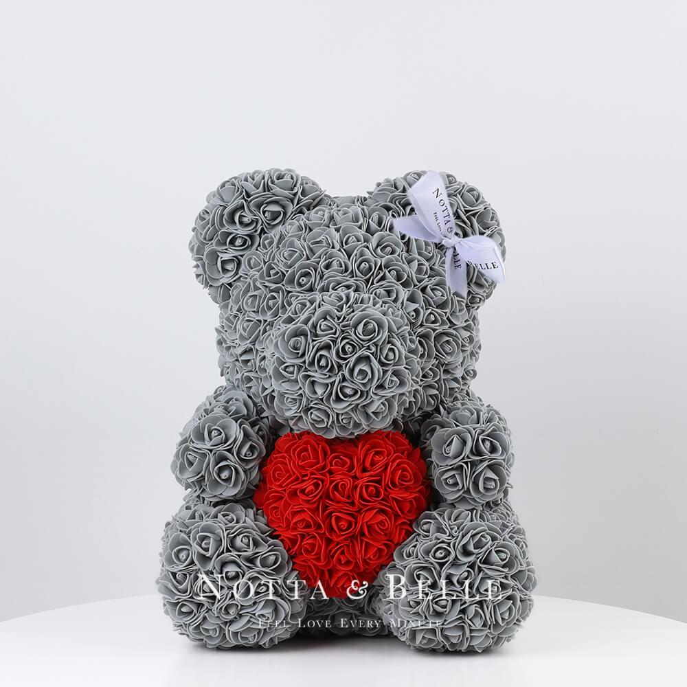 Orsetto di rose grigie con il cuore 35cm