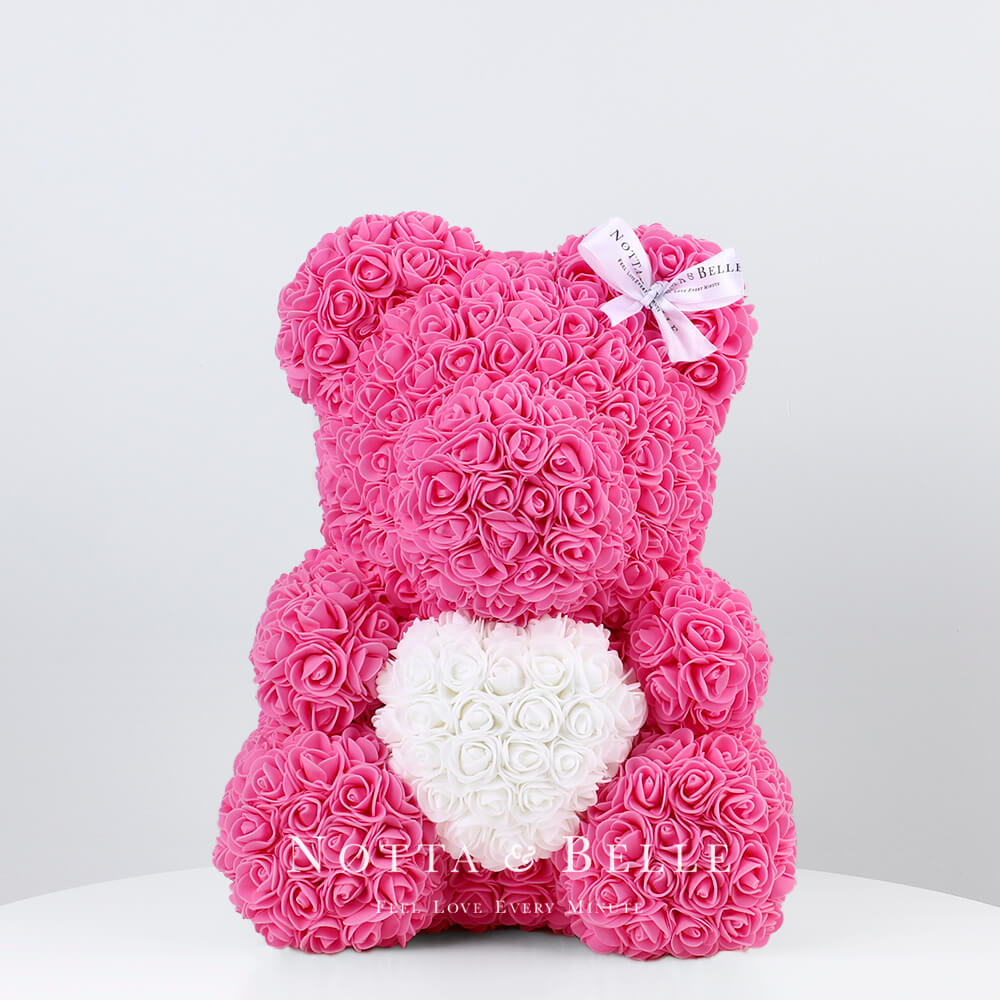 Pink Rose Bear with a heart - 14 in.