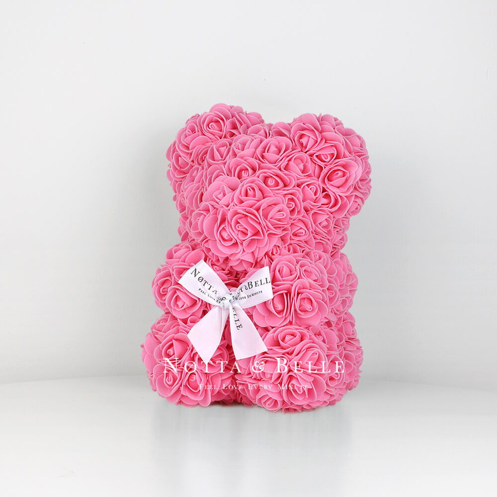 Pink Rose Bear - 10 in.