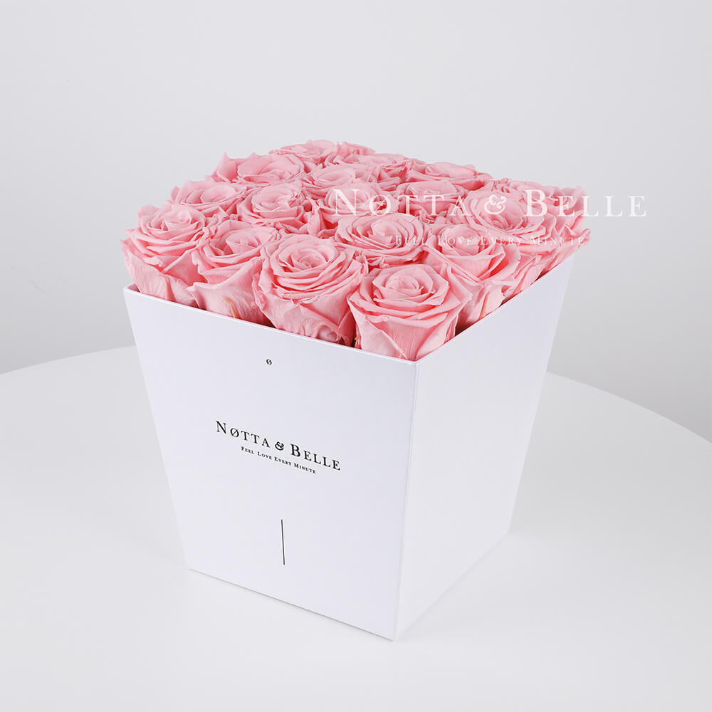 Pink roses in a white box - «Forever» - 17 roses