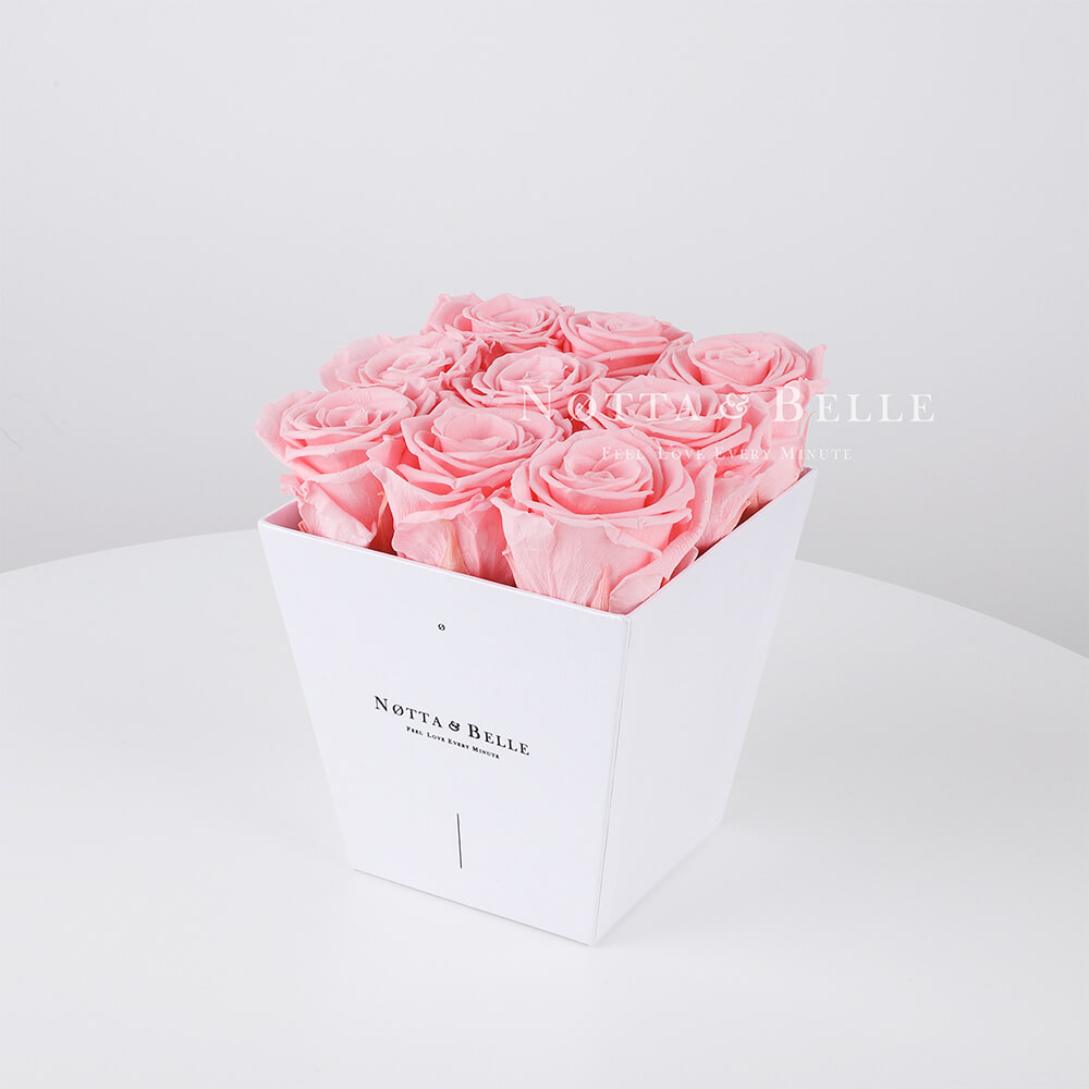 Pink roses in a white box - «Forever» - 9 roses
