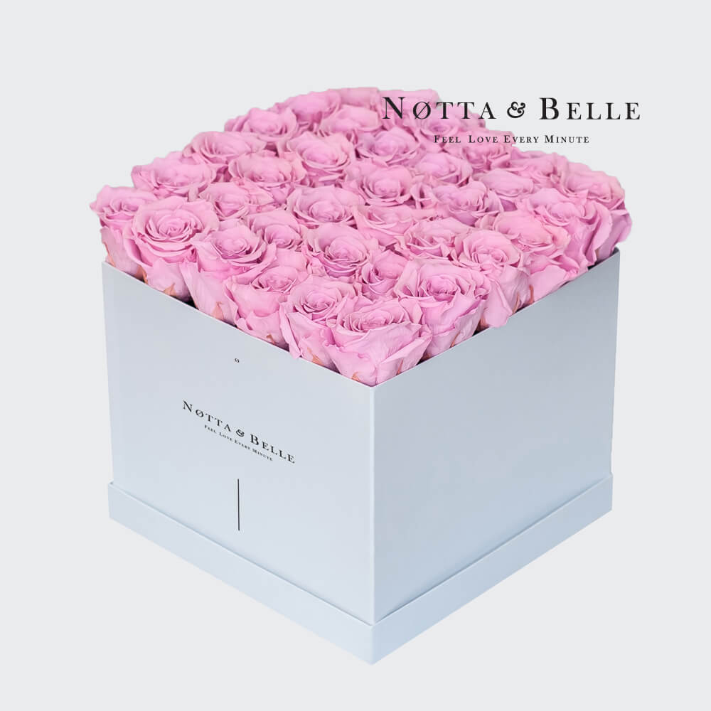 Pink roses in a white box - «Romantic» - 35 roses