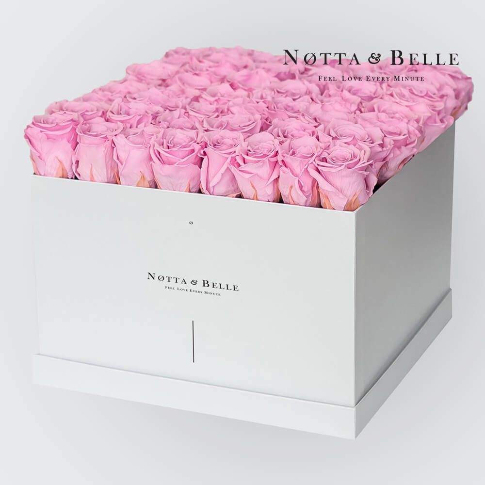 Pink roses in a white box - «Romantic» - 49 roses