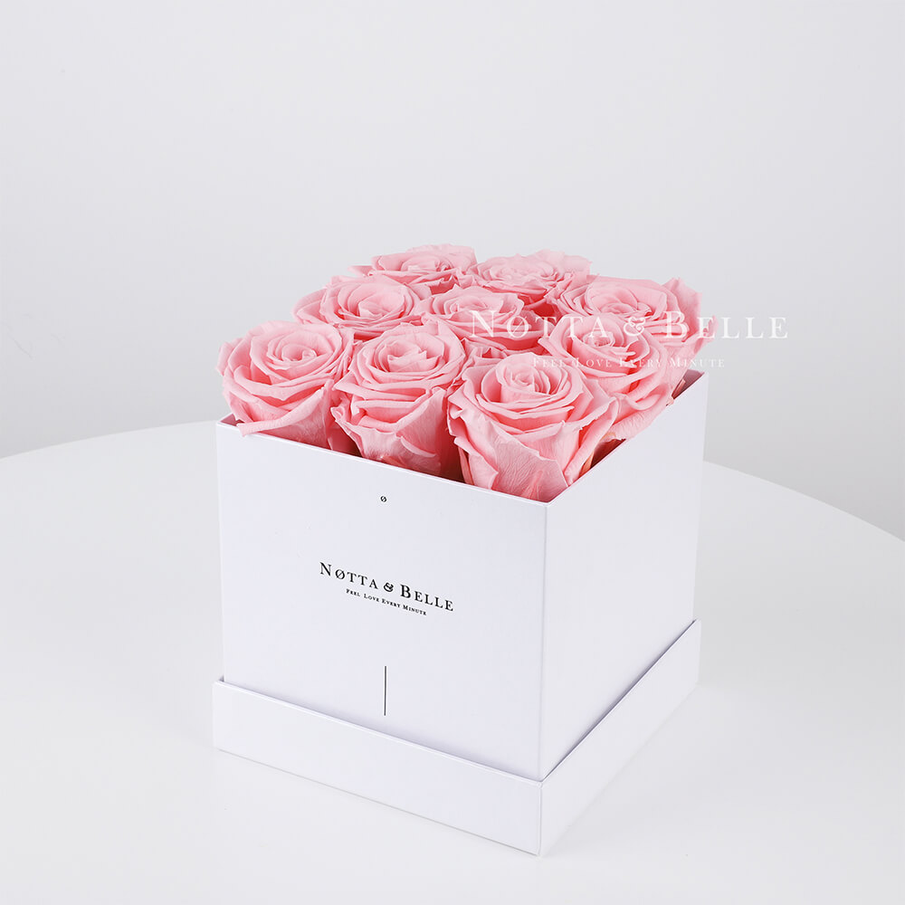 Pink roses in a white box - «Romantic» - 9 roses