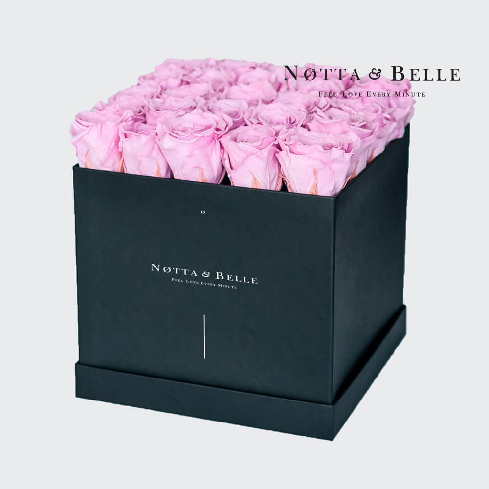 Pink roses in square black box - 25 roses