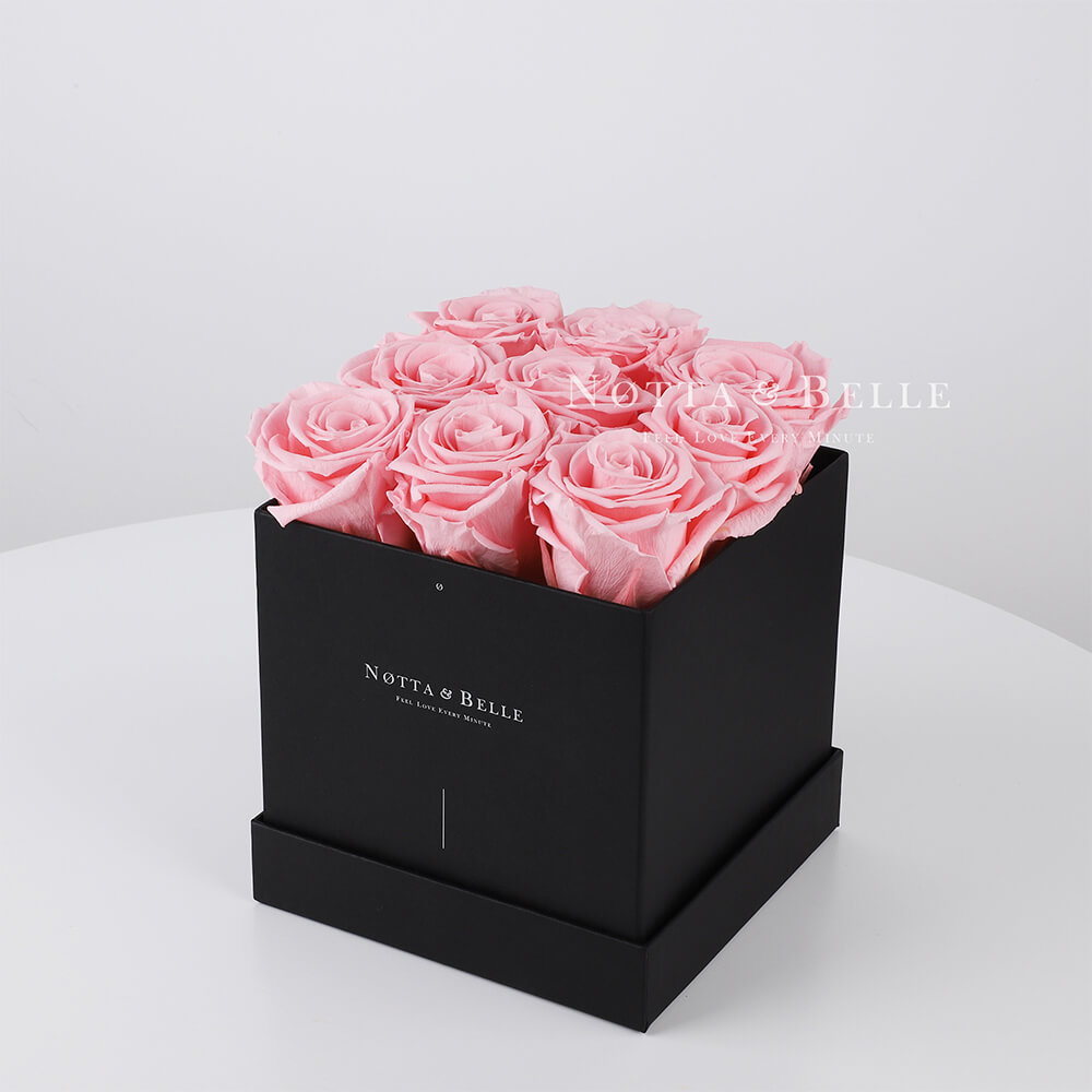 Pink roses in square black box - 9 roses