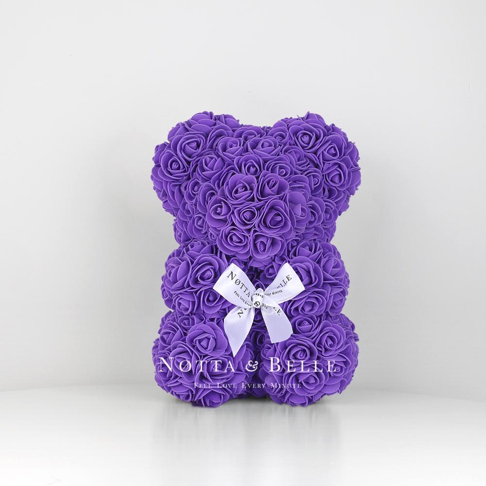Purple Rose Bear - 10 in.