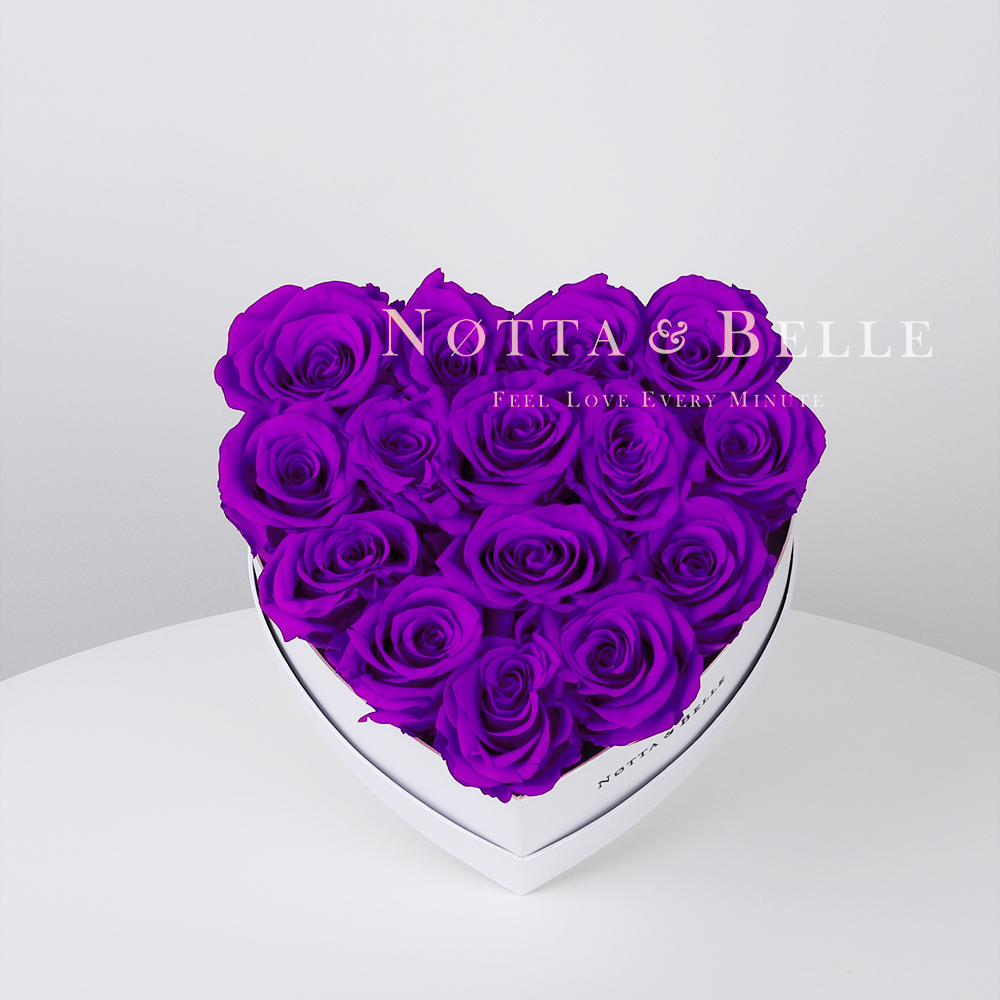 Purple roses in a white box - «Love» - 15 roses