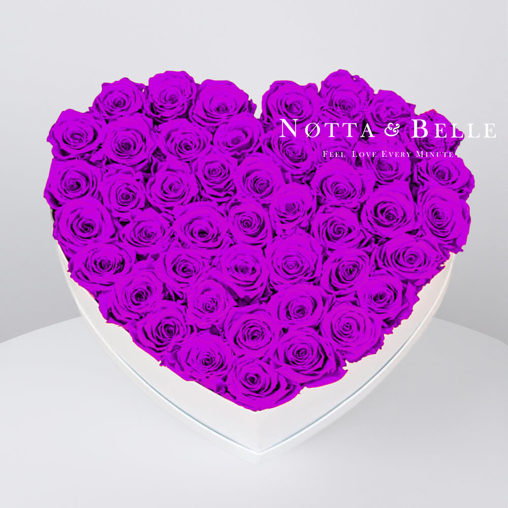 Purple roses in a white box - «Love» - 35 roses