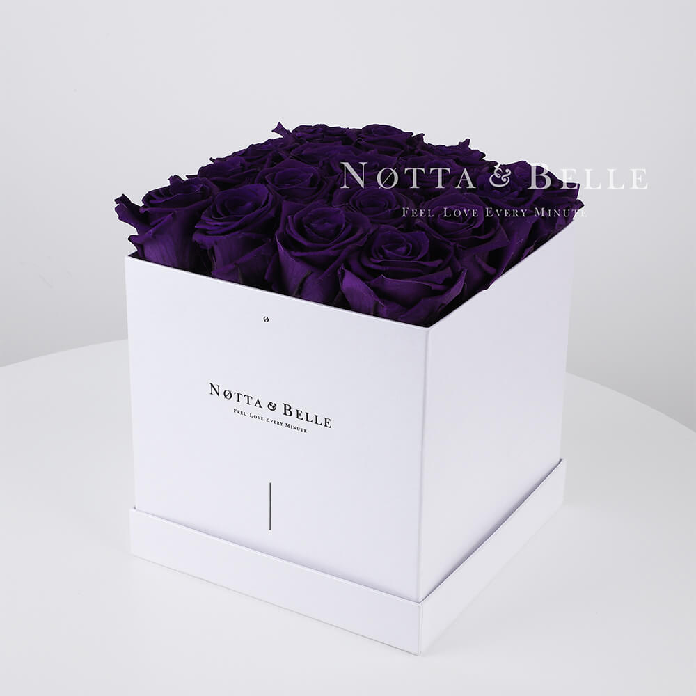 Purple roses in a white box - «Romantic» - 17 roses