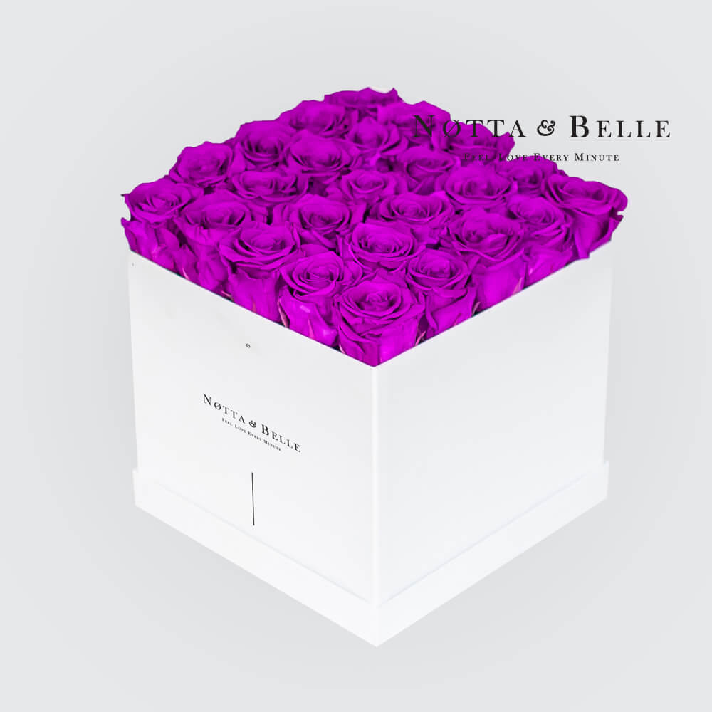 Purple roses in a white box - «Romantic» - 25 roses