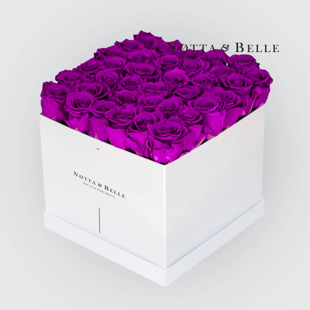 Purple roses in a white box - «Romantic» - 35 roses