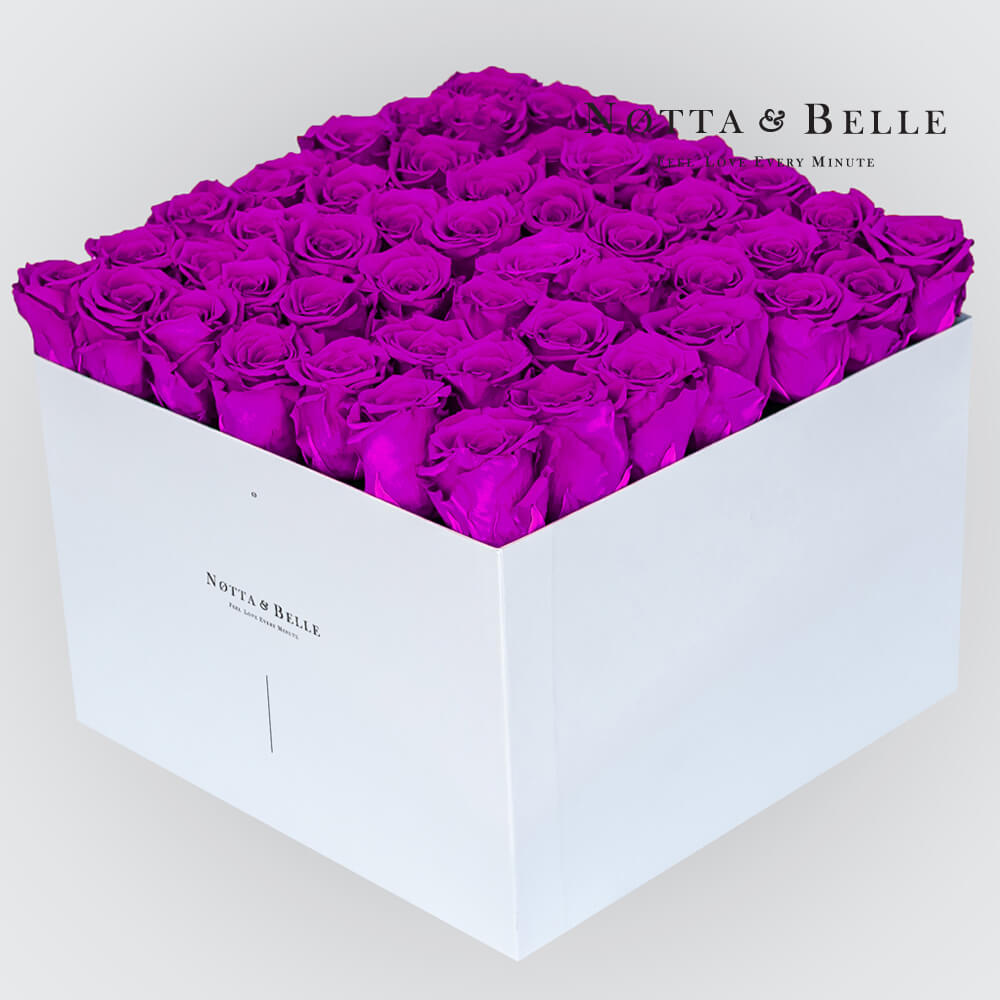 Purple roses in a white box - «Romantic» - 49 roses