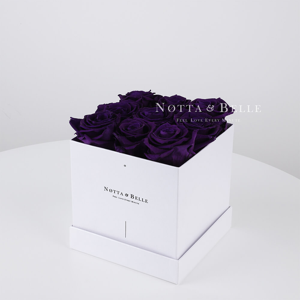 Purple roses in a white box - «Romantic» - 9 roses