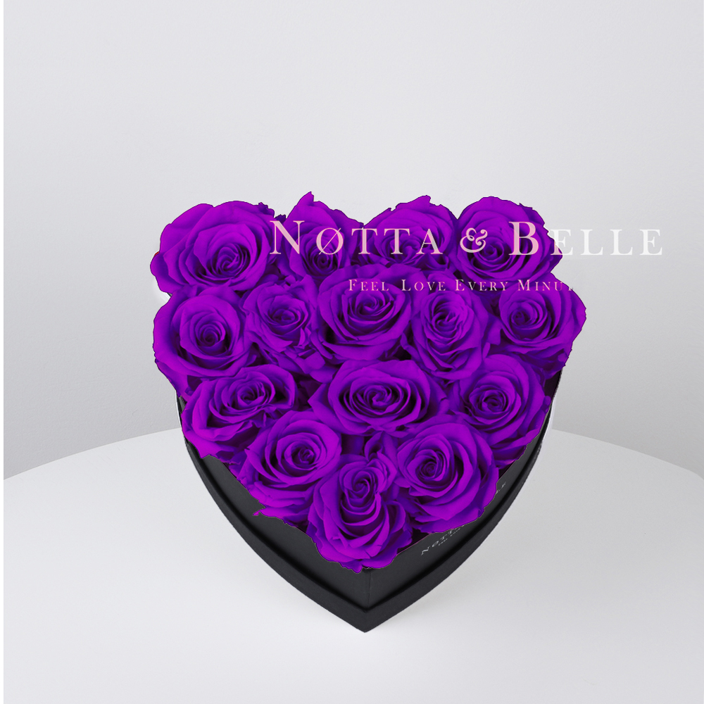 Purple roses in heart black box - 15 roses