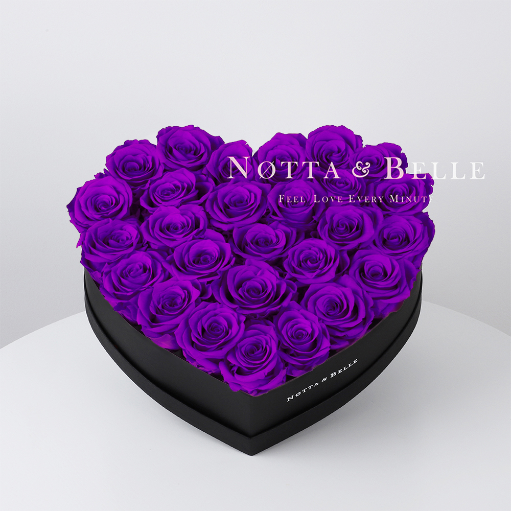 Purple roses in heart black box - 27 roses