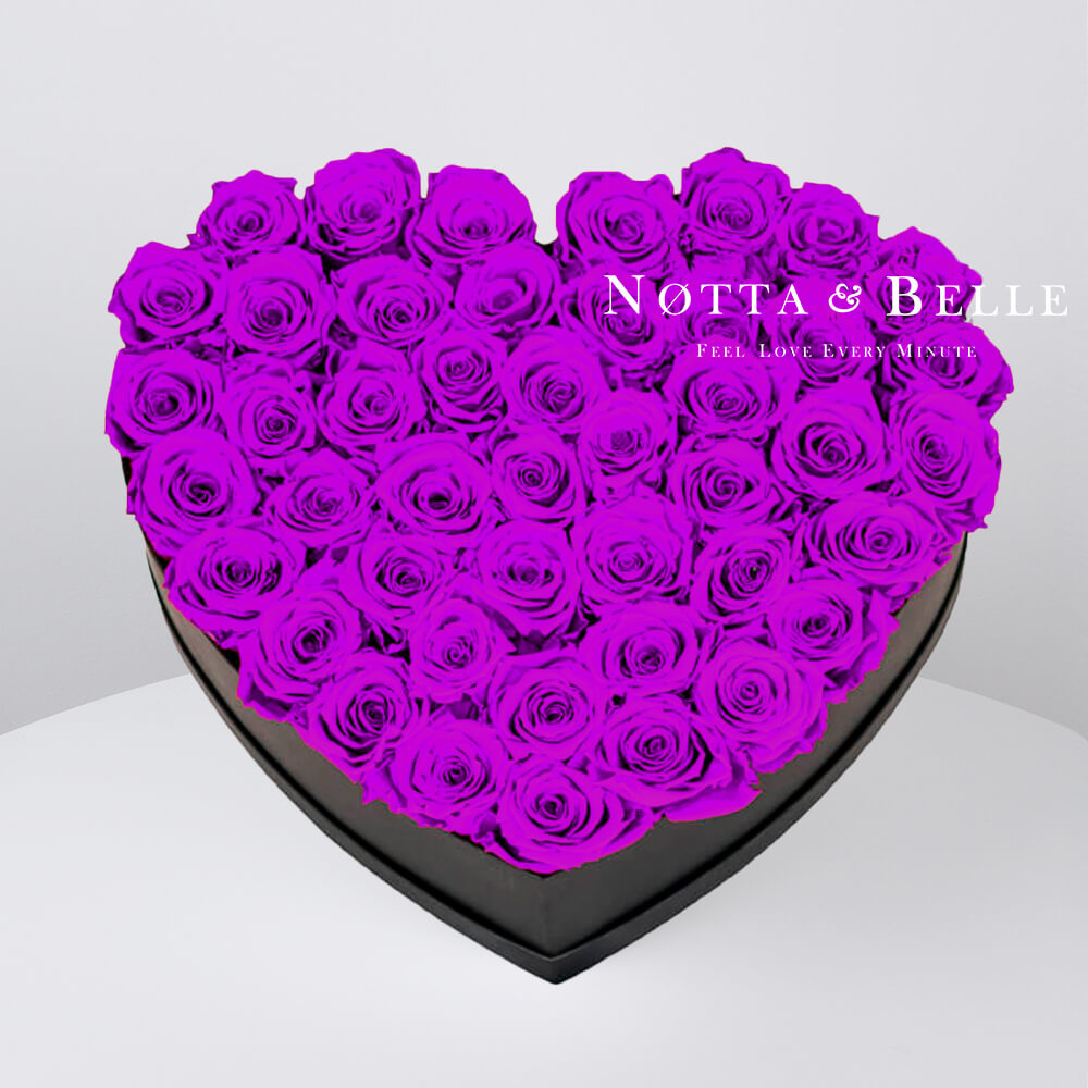 Purple roses in heart black box - 35 roses