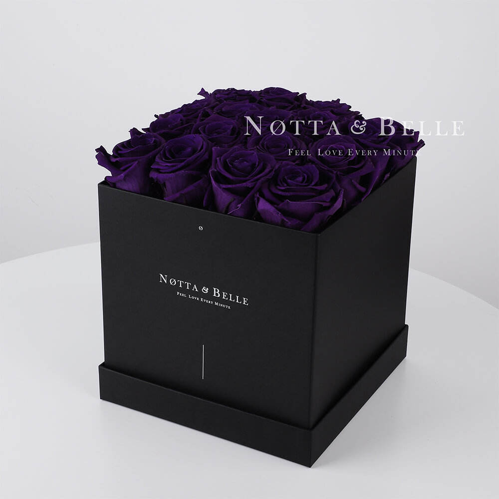 Purple roses in square black box - 17 roses