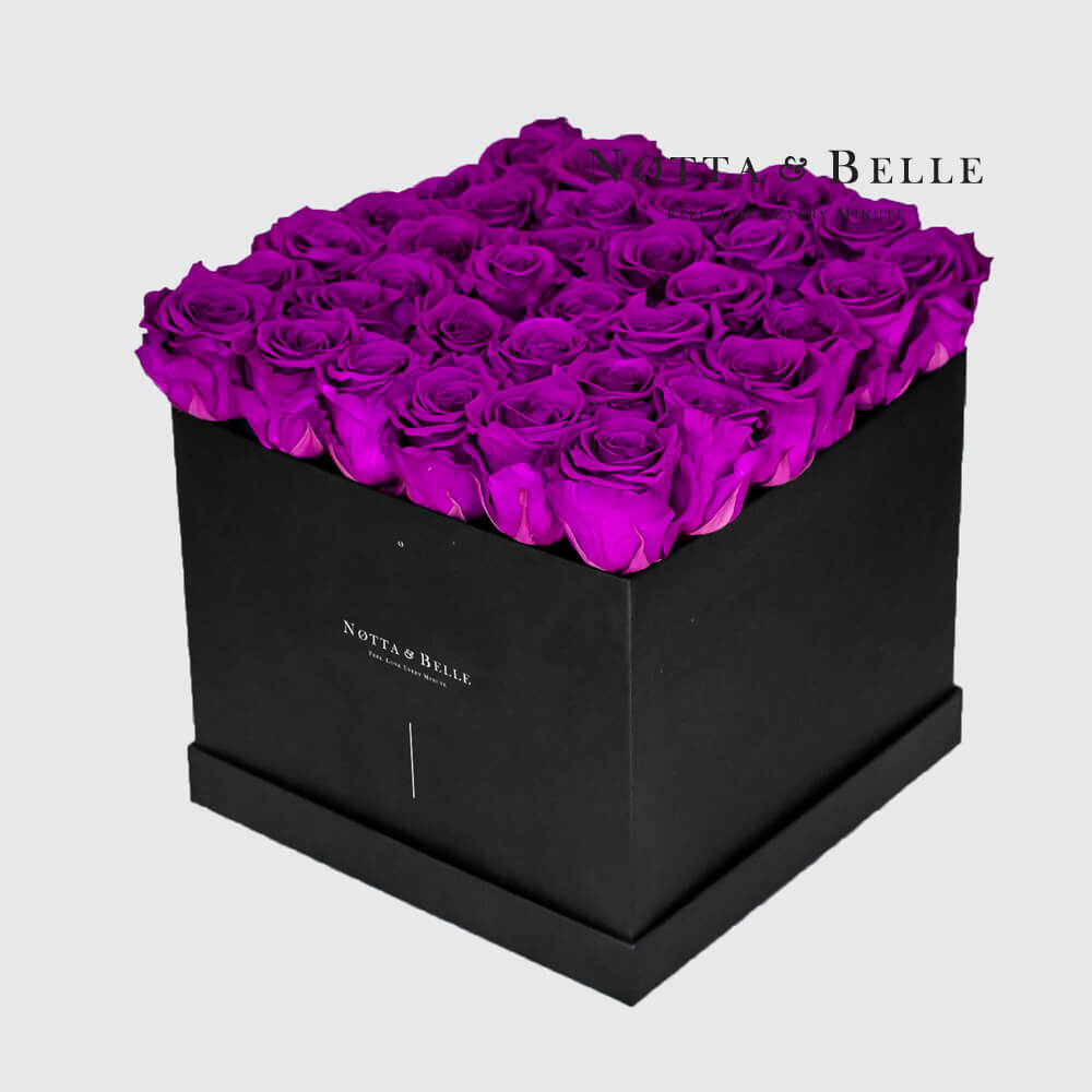 Purple roses in square black box - 35 roses