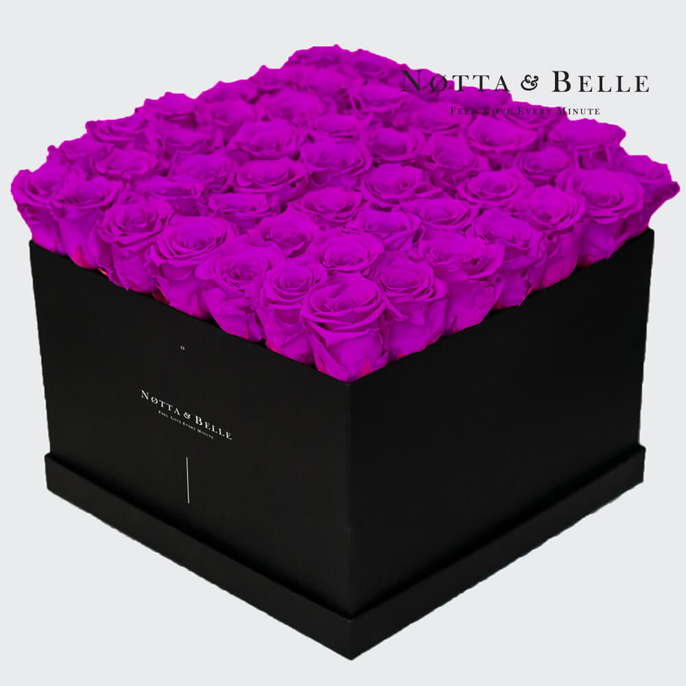 Purple roses in square black box - 49 roses