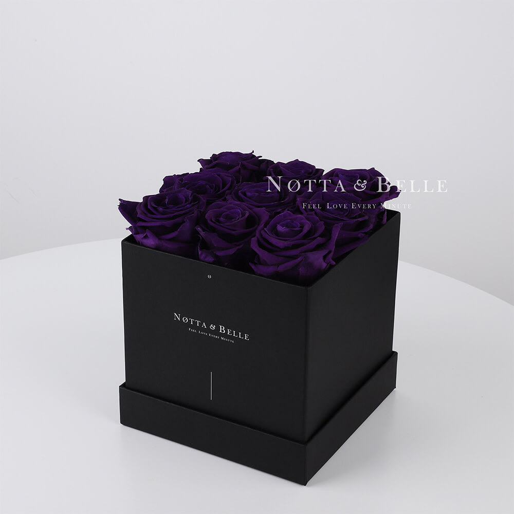 Purple roses in square black box - 9 roses