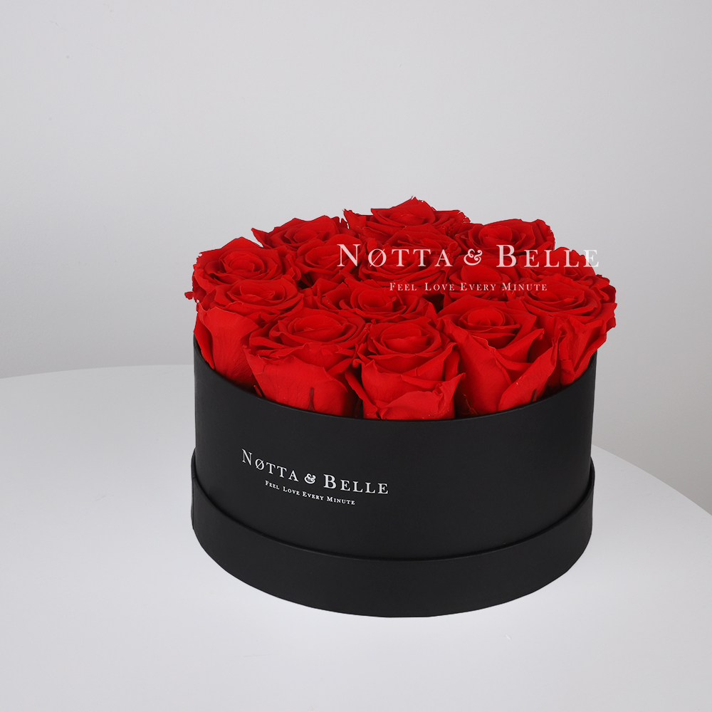 Red roses in round black box - 15 roses
